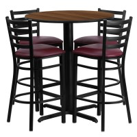 30'' Round Laminate Table Set with 4 Ladder Back Metal Bar Stools - Burgundy Vinyl Seat - 4 Table Colors