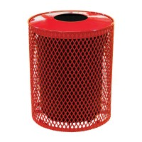 32 Gallon Expanded Metal Receptacle in red shown with LCI-32SMLX 32 Gallon Spun Metal Lid Convex Style in red and LCI-R32L 32 Gallon Receptacle Liner (each sold separately)