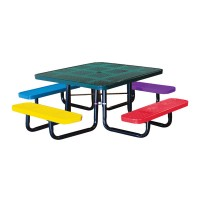 "46"" Square Perforated Metal Children's Portable Table"