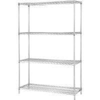 "Lorell Industrial Wire Shelving Units - 48""W x 24""D x 72""H - Chrome"
