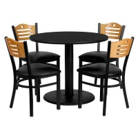 36'' Round Laminate Table Set with 4 Wood Slat Back Metal Chairs - 3 Styles Available