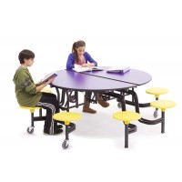 AmTab Mobile Round Tables with Stools or Benches – 2 Shapes in Multiple Colors