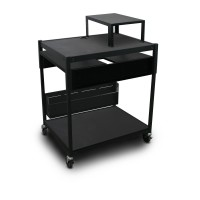 Adjustable Media Projector Cart with Expansion Shelf and Two Pull Out Side Shelves