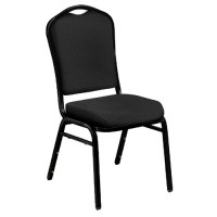 NPS Silhouette Stack Chair - Black Sandtex Frame - Ebony Black Fabric Upholstery - 9360-BT