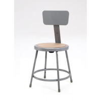NPS 6200B Series Gray Lab Stools with Round Hardboard Seat & Back - Three Fixed Heights