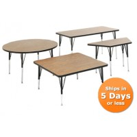 QUICK SHIP Correll Activity Tables in Medium Oak - 7 Shapes and 17 Sizes