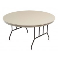 AmTab Dynalite ABS Round Plastic Tables with Wishbone Round Steel Legs - Gray – 2 Sizes