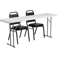 18'' x 72'' Plastic Folding Training Table with 2 Trapezoidal Back Stack Chairs