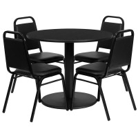 36'' Round Laminate Table Set with 4 Black Trapezoidal Back Banquet Chairs - 4 Styles Available