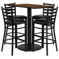 24'' x 42'' Rectangular Laminate Table Set with 4 Ladder Back Metal Bar Stools - 4 Styles Available