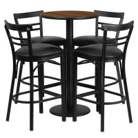 24'' Round Laminate Table Set with 4 Ladder Back Bar Stools - 4 Styles Available