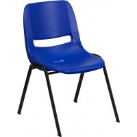 Signature Series Blue Ergonomic Shell Stack Chair - Optional Tablet Arm