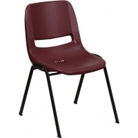 Signature Series 880 lb. Capacity Burgundy Ergonomic Shell Stack Chair - Optional Tablet Arm