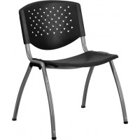 Signature Series 880 lb. Capacity Black Polypropylene Stack Chair with Titanium Frame Finish