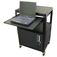"HamiltonBuhl Steel Cart, Adjustable 26"" to 42"" with Locking Security Cabinet, Lap Top Shelf and Electric - SVCAB4226E"