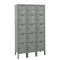 "Hallowell Premium Locker, 36""W x 18""D x 66""H, 725 Hallowell Gray, 5-Tier, 3-Wide"