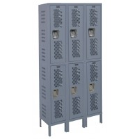 "Hallowell Heavy-Duty Ventilated (HDV) Locker, 45""W x 18""D x 78""H, 725 Hallowell Gray, Double Tier, 3-Wide"