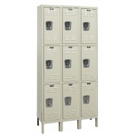 "Hallowell Galvanite Locker, 36""W x 12""D x 78""H, 729 Parchment, Triple Tier, 3-Wide"