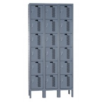"Hallowell Heavy-Duty Ventilated (HDV) Locker, 36""W x 18""D x 78""H, 725 Hallowell Gray, 6-Tier, 3-Wide"