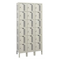 "Hallowell Heavy-Duty Ventilated (HDV) Locker, 36""W x 18""D x 78""H, 729 Parchment, 6-Tier, 3-Wide"