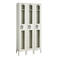 "Hallowell Safety-View Locker, 36""W x 12""D x 78""H, 729 Parchment, Single Tier, 3-Wide"