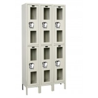 "Hallowell Safety-View Locker, 36""W x 18""D x 78""H, 729 Parchment, Double Tier, 3-Wide"