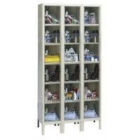 "Hallowell Safety-View Plus Locker, 36""W x 12""D x 78""H, 729 Parchment, 6-Tier, 3-Wide"