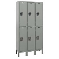 "Hallowell Maintenance-Free Quiet (MFQ) Locker, 45""W x 15""D x 78""H, 725 Hallowell Gray, Double Tier, 3-Wide"