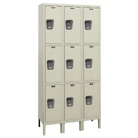 "Hallowell Maintenance-Free Quiet (MFQ) Locker, 36""W x 18""D x 78""H, 729 Parchment, Triple Tier, 3-Wide"