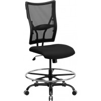 Signature Series 400 lb. Capacity Big & Tall Black Mesh Drafting Stool - Optional Arms and Footrest