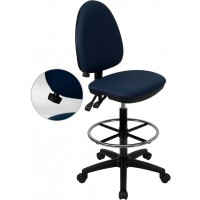Mid-Back Fabric Multi-Functional Drafting Stool with Adjustable Lumbar Support - 3 Color Options - Optional Arms Available