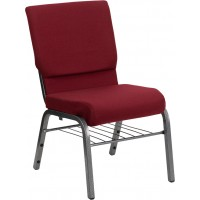 Signature Series 18.5''W Fabric Church Chair with 4.25'' Thick Seat, Book Rack - Silver Vein Frame - 2 Seat Options