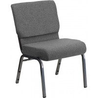 Signature Series 21'' Extra Wide Gray Stacking Church Chair with 3.75'' Thick Seat - Silver Vein Frame - 2 Seat Options