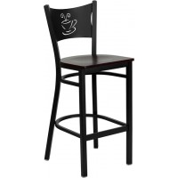 Signature Series Black Coffee Back Metal Restaurant Bar Stool - 4 Seat Options