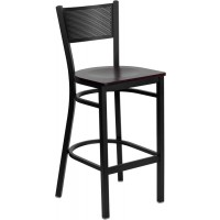 Signature Series Black Grid Back Metal Restaurant Bar Stool - 4 Seat Options