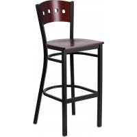 Signature Series Black Decorative 4 Square Back Metal Restaurant Barstool - Mahogany Wood Back - 3 Seat Options