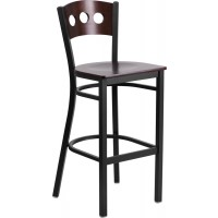 Signature Series Black Decorative 3 Circle Back Metal Restaurant Barstool - Walnut Wood Back - 3 Seat Options