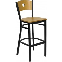 Signature Series Black Circle Back Metal Restaurant Bar Stool - Natural Wood Back - 3 Seat Options