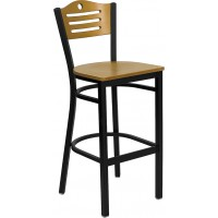 Signature Series Black Slat Back Metal Restaurant Bar Stool - Natural Wood Back - 3 Seat Options