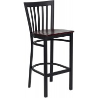 Signature Series Black School House Back Metal Restaurant Bar Stool - Mahogany Wood Seat