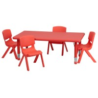 24''W x 48''L Adjustable Rectangular Plastic Activity Table Sets with 4 School Stack Chairs - 3 Colors Available