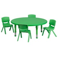 45'' Round Adjustable Plastic Activity Table Sets with 4 School Stack Chairs - 3 Colors Available