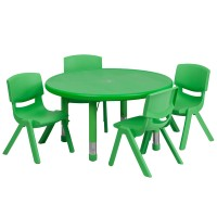 33'' Round Adjustable Plastic Activity Table Set with 4 School Stack Chairs - 3 Colors Available