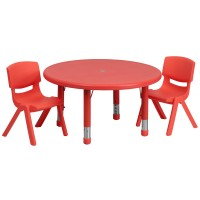 33'' Round Adjustable Plastic Activity Table Sets with 2 School Stack Chairs - 3 Colors Available