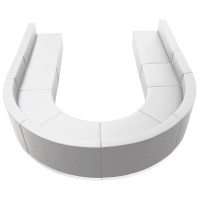 Signature Alon Series White Leather Reception Configuration, 8 Pieces