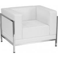 Signature Imagination Series Contemporary Leather Chair with Encasing Frame - 2 Seat Options