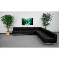 Signature Imagination Series Black Leather Sectional Configuration, 7 Pieces