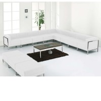 Signature Imagination Series White Leather Sectional & Ottoman Set, 12 Pieces
