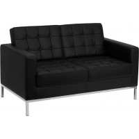 Signature Lacey Series Contemporary Black Leather Love Seat with Stainless Steel Frame