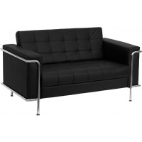 Signature Lesley Series Contemporary Black Leather Love Seat with Encasing Frame